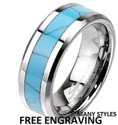 Top Quality Tungsten Wedding Band Turquoise by Cloud9Tungsten