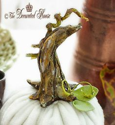 Clay pumpkin stem--The Decorated House: ~ Fall Decorating with Vintage Family Treasures