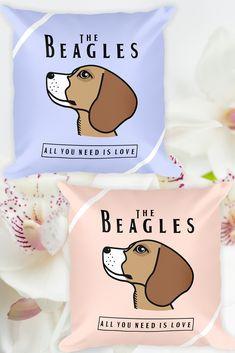 Beagle - All you need is love pillow!  #beagle #beagles #beaglelover #beaglelove #dogs #doglovers #dogbed #dogcushion #cushion #pillows #pillowcase #ビークル