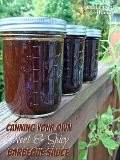 How to Can Your Own Sweet & Spicy Barbecue Sauce with Free Printable Label - Juggling Act Mama Marinade Sauce, Hoisin Sauce, Spicy Crockpot Chili, Mayonnaise, Chutney, Dressings, Salsa, Spaghetti, Homemade Bbq