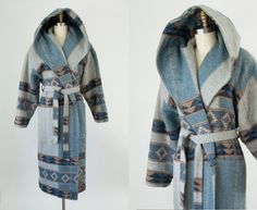 1980s Vintage Blanket Wrap Hooded Coat. 80s Slouchy Belted Winter Jacket (M) by heirravintage on Etsy