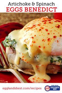 This rich, creamy breakfast classic stars fresh artichokes. Everyone will be sure to love it. #ebeggs #eggsbenedict #breakfast #recipe #artichoke