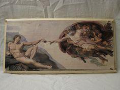 THE CREATION of ADAM, wood board, wood wall art, Handmade wood print. Home decor, Renaissance Art di KnockOnWoodCraft su Etsy