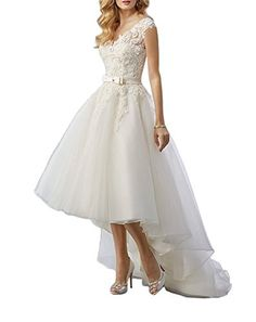 a98fafb856c Looking for ABaowedding Women s Lace High Low Short Tea Length Wedding  Dress Bridal Gown   Check out our picks for the ABaowedding Women s Lace  High Low ...