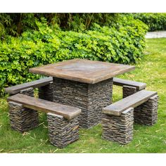 Rock Picnic Table with 4 Benches