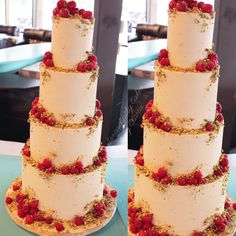 Smooth crisp buttercream wedding cake with crumbled pistachios and fresh raspberries. Rustic, natural simple