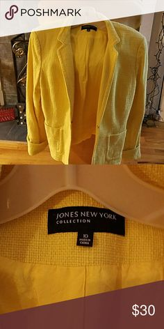 Jacket Bright and colorful sunflower yellow jacket just in time for spring!! Fully lined with matching colored lining Jones New York Jackets & Coats Blazers