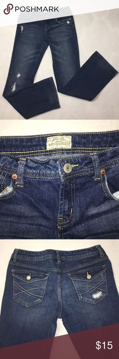 Aeropostale Chelsea Bootcut Jeans Worn a few times, no stains, like new. Factory distressed. Size 5/6, inseam 31, rise 8. Excellent condition! Aeropostale Jeans Boot Cut