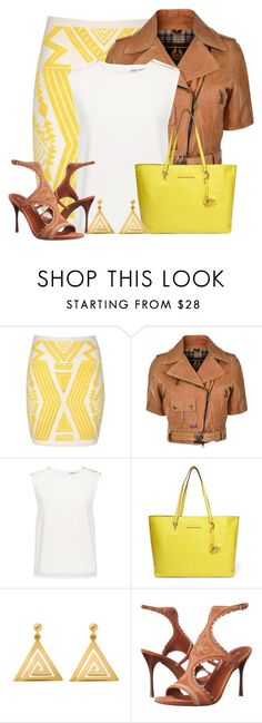 """""""Yellow Aztec Print Skirt"""" by cassandra-cafone-wright ❤ liked on Polyvore featuring Jane Norman, Belstaff, Finders Keepers, Diane Von Furstenberg, ChloBo and Sergio Rossi"""