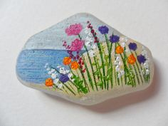 Wildflowers by the sea - Original acrylic miniature painting on English sea glass
