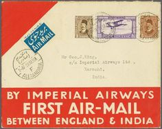 Egypt Airmail stamps. Airmail 1925/45c.: The collection, largely from the late 1920's and 1930's including 1925 Egypt-Baghdad Flight, 1926 cover flown to Baghdad with 'Dead Letter Office' label applied for return, 1929 cover to Paris addressed to Tchilinghirian, 1929 Flight to Athens with label, 1929 First Flight to Crete (2), 1931 LZ 127 Zeppelin Flight covers and cards (10), 1933 cover to Kedah, Malaysia (re-addressed to Cyprus), 1929 cover to Persia, Imperial Airways Flights, 1933 First…