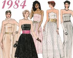 3b3075245bf 1980s Prom Dress Strapless Dress 1980s Cocktail Dress VOGUE 1494 sz 12-16 b  34-38