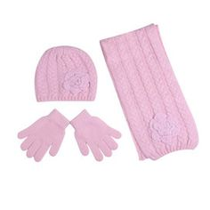 Lovely knitted hat scar & gloves set in baby pink - £7.99