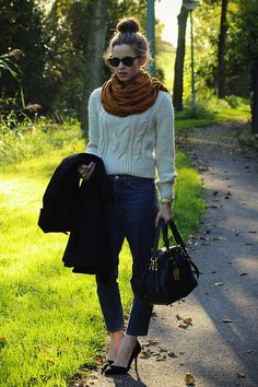 sweater, jeans, scarf, bun. so relaxed!