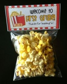 Meet the Teacher Night Goodie Bag Tags! (Popcorn Themed! / Movie Themed!) Print tags for all grade levels, Pre-K through 5th grade! TEACHERSPAYTEACHERS.COM