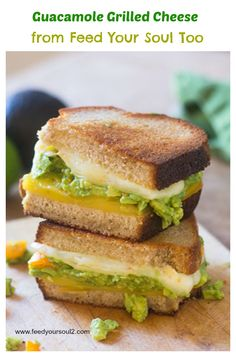 Guacamole Grilled Cheese from Feed Your Soul Too - a super tasty vegetarian grilled sandwich.