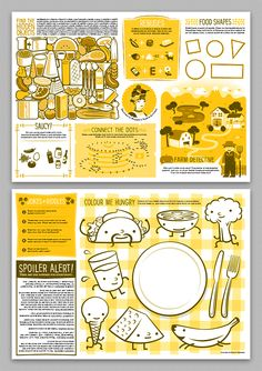 Mildred's Temple Kitchen Kids' Placemats by Martin Bregman, via Behance