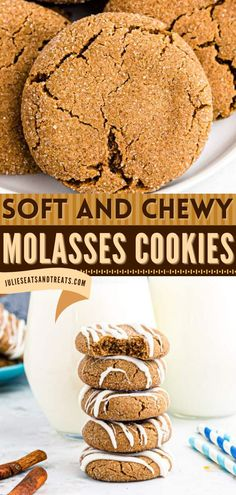 These Soft Molasses Cookies are Christmas cookies that are so chewy and delicious! It's a sure family favorite! Pin this holiday baking recipe! Delicious Cookie Recipes, Yummy Cookies, Molasses Cookies, Holiday Baking, Cookie Jars, White Chocolate, Christmas Cookies, Breakfast, Desserts
