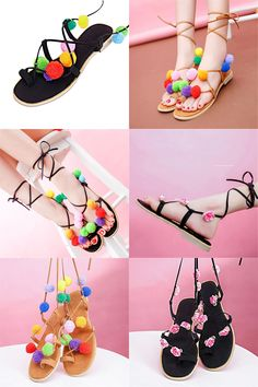 new arrival a676f ca85c Visit to Buy Summer New Colorful Flower Ball PomPom Sandals Sandals Flat  with Roman Gladiator High Lace Thong Flip Flop Shoes Woman