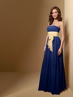 Alfred Angelo bridesmaid dress navy blue with canary yellow sash ...