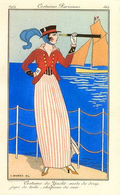 George Barbier (1882-1932) - French Art Deco Fashion Illustrator -  Costume de Yacht