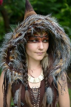 Felt Melted Wild Pixie Woodland Guinea Fowl Feather Tribal Scoodie Fur Trimmed Hooded Hat OOAK on Etsy, Character Inspiration Larp, Headdress, Headpiece, Mononoke Cosplay, Costume Viking, Kleidung Design, Halloween Karneval, Cosplay Costume, Hippie Man