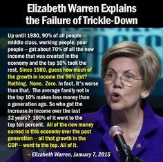Elizabeth Warren explains failed Republican economics. #TrickleDown on this!