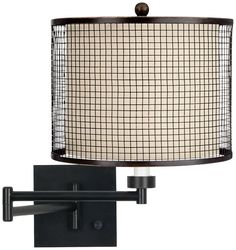 Bronze Mesh Grid Espresso Plug-In Swing Arm Wall Lamp