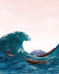 Japanese Wave 🌊 🇯🇵 • • • #japan #japanese #waves #art #volcano #ocean #sea #wave #photoshop #landscape #photography Photoshop Photography, Landscape Photography, Japanese Waves, Ocean Art, Art Portfolio, Volcano, Land Scape, Water, Outdoor