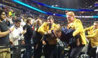 Will Ferrell Hits Cheerleader in the Face With Basketball Viral Randomness… Don't panic. It's all part of the act for the movie 'Daddy's Home'. It was filmed during half-time on Wednesday night's Pelicans-Lakers game...