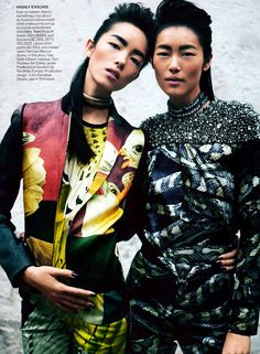 Fei Fei Sun and Liu Wen by Peter Lindbergh for Vogue US March 2012