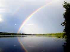 A rainbow photographed on lake Ihalanjärvi, Ruokolahti