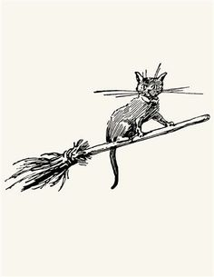 RUBBER STAMP (BROOMSTICK KITTY)