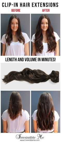 Get long hair in less than 5 minutes with Irresistible Me 100% human Remy clip-in hair extensions. The before and after change is totally awesome and nobody will know you're wearing hair extensions. Can be cut, dyed and heat styled. Worldwide delivery, free exchanges and returns.