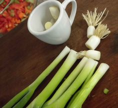 Save the root end of your spring onion in a bit of water and when they begin to grow, plant them in the garden to have onions another day. Enjoy!