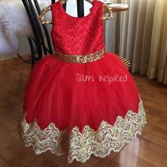 Princess dress red and gold dress little red dress baby Mexican Quinceanera Dresses, Baby Pageant Dresses, Royal Dresses, Quince Dresses, Girls Formal Dresses, Trendy Dresses, Red And Gold Dress, Dress Red, Little Red Dress