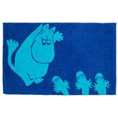 Cool blue bathroom rug featuring Moomintroll and Hattifatteners. Bring something fun to your bathroom. Size 50x80 cm. Finlayson's Moomin products are inspired by Tove Jansson's original drawings and are authentic ©Moomin Characters™ licensed products.