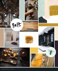 Restaurant Mood Board for Tupelo Park City by Dapper Fox Design - Yellow, Green, Purple, Gold, Honey Moody Food, Rustic