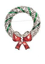 Kim Rogers® Holiday Wreath Pin with Bow and Pave Embellishments