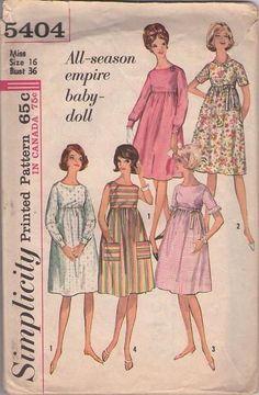 MOMSPatterns Vintage Sewing Patterns - Simplicity 5404 Vintage 60's Sewing Pattern ADORABLE Mod All Season Empire Babydoll Dress Set, High Waist, Flared Skirt, Pockets