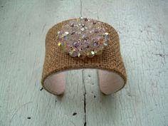 Cuff Bracelet - Vintage Burlap and Beads