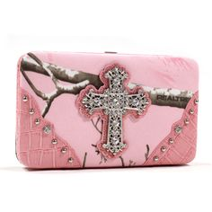 Realtree Hunting Camo and Pink Rhinstone Bling Cross Womens Wallet