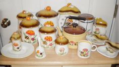 70s Merry Mushroom 15 Pieces Retro Canisters Clock by AgelessFinds, $45.00