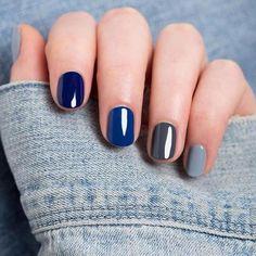 Manicure degradado azules y grises