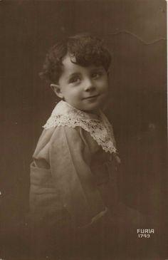 Vintage postcard of little boy