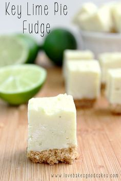This Key Lime Pie Fudge is such an easy recipe! It's creamy and full of lime fla… This Key Lime Pie Fudge is such an easy recipe! It's creamy and full of lime flavor! Bonus, no thermometer needed! Make it with or without the graham cracker crust! Fudge Recipes, Candy Recipes, Sweet Recipes, Dessert Recipes, Gourmet Fudge Recipe, Oven Recipes, Recipies, Just Desserts, Delicious Desserts