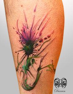 watercolour thistle tattoo - Google Search