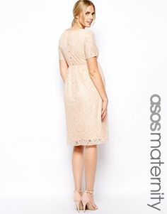 ASOS Maternity Exclusive Lace Midi Dress With Button Back T-I might've found the site for lace regular & maternity! lol