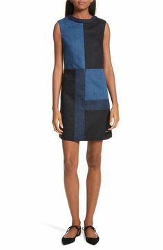 d4e3446903 Main Image - Ted Baker Morfee London Colorblock Denim A-Line Dress