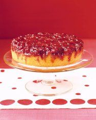 """Rhubarb Upside-Down Cake ~ My family LOVES this recipe! This cake has a crumb """"topping"""" that actually ends up on the bottom. Each bite has a surprisingly crunchy texture."""